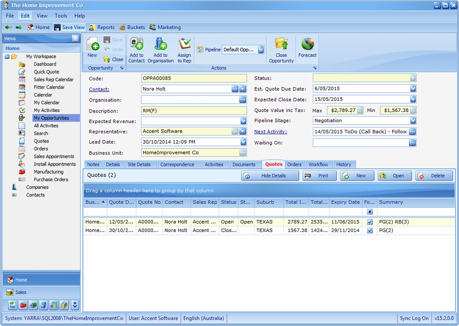 insyte opportunity manager window treatment software